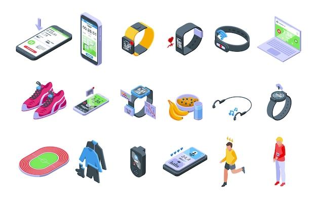 Runner app icons set isometric vector. chart activity