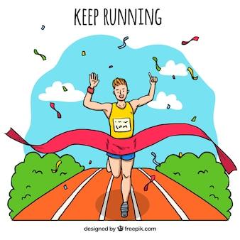 Runner background reaching the goal