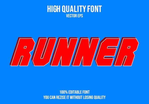 Runner editable text font effect