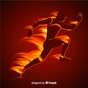 Runner in flames flat style