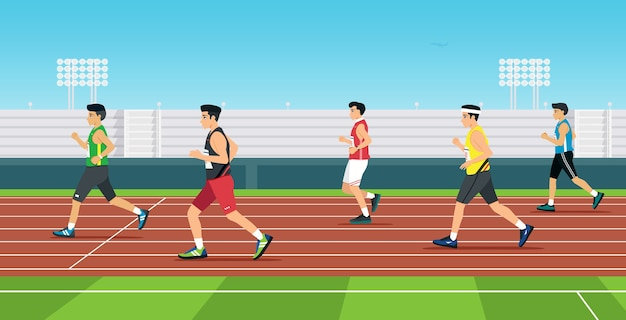 The runner is running in the race track