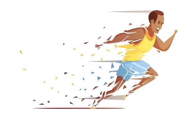 Runner man action retro cartoon composition with male human character of trackman athlete falling into pieces vector illustration
