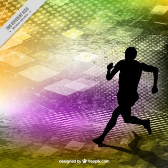 Runner silhouette on a colors abstract background