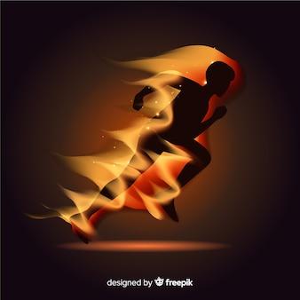 Runner silhouette in flames flat design
