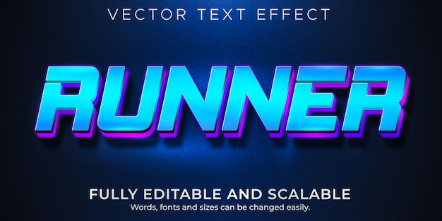Runner text effect, editable sport and speed text style