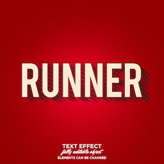 Runner text effect with artistic shadow
