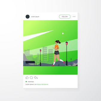 Runner training outdoors. sporty girl running down city park pathway in morning. vector illustration for health, active lifestyle, morning exercise, jogging concept