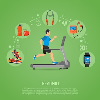 Runner on treadmill concept