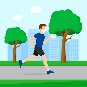 Runner with medical mask outdoors