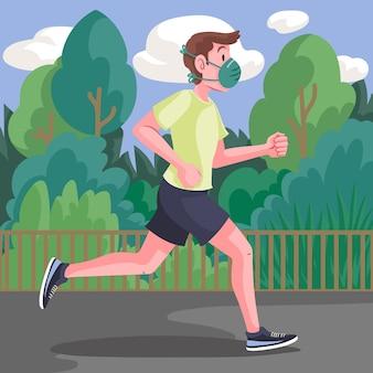 Runner with medical masks
