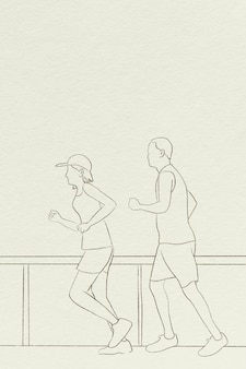 Runners background simple line drawing