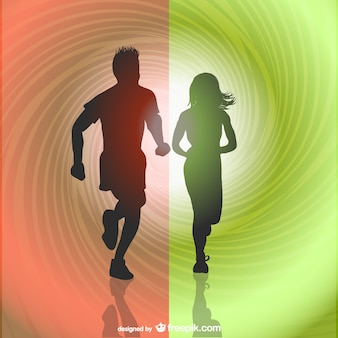 Runners silhouettes vector