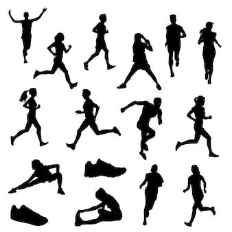 Runners street sport clip art silhouette vector