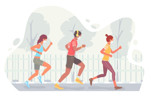 Runners with face masks outdoors