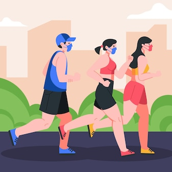 Runners with masks