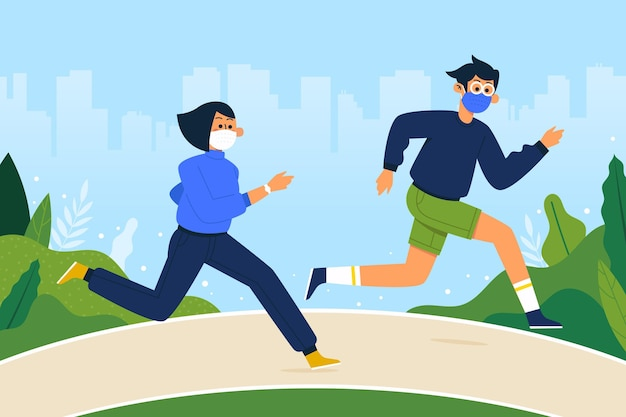Runners with medical mask