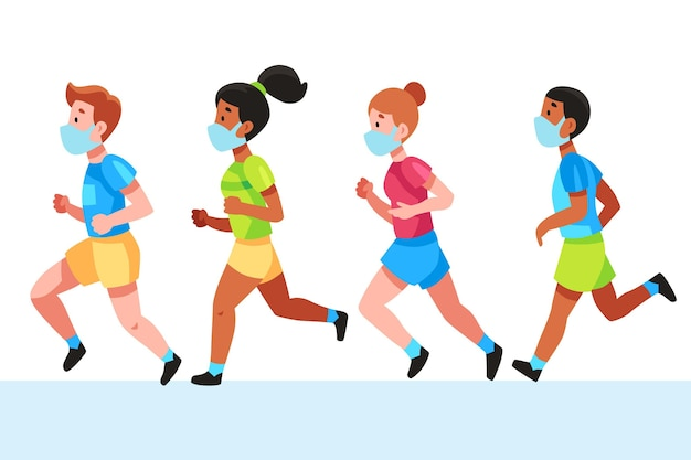 Runners with medical masks illustrated