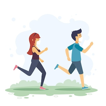 Runners with medical masks illustration
