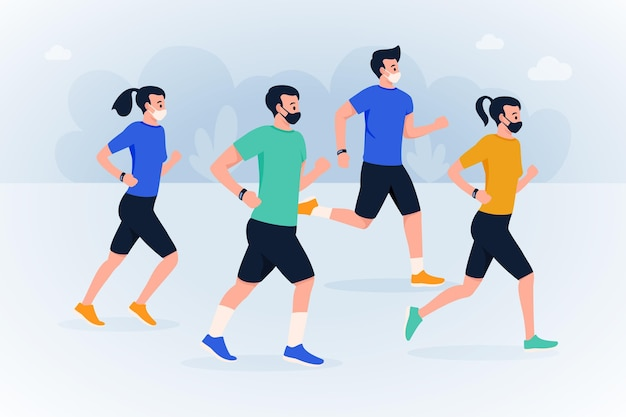 Runners with medical masks