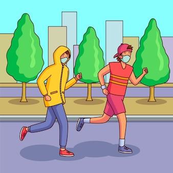 Бегуны с медицинскими масками