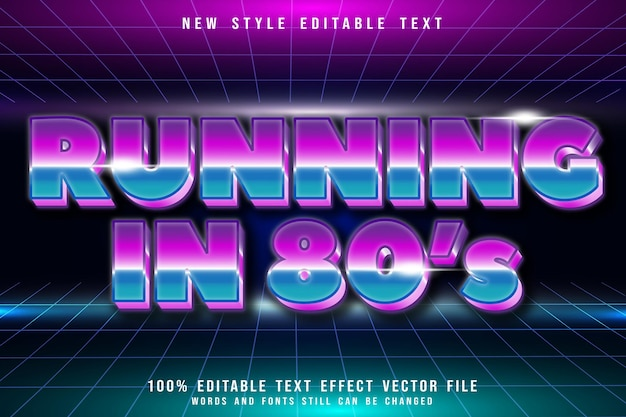 Running in 80s editable text effect emboss retro style