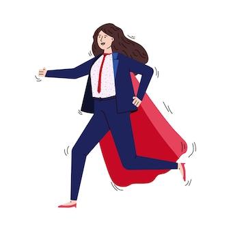 スーパーヒーローの赤いマントとオフィススーツでビジネス女性の漫画のキャラクターを実行し、急いで