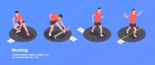 フィットネスシンボルで設定された人々のランニングとトレーニング