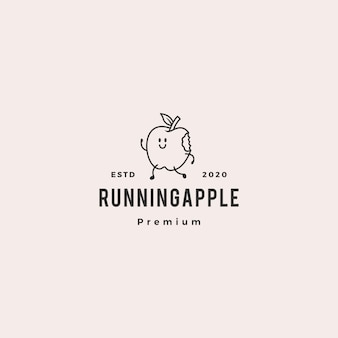 Running apple logo hipster vintage retro vector icon cartoon mascot character illustration