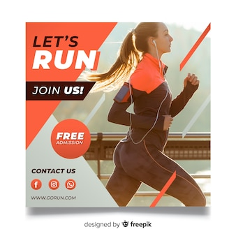 Running athlete banner with photo