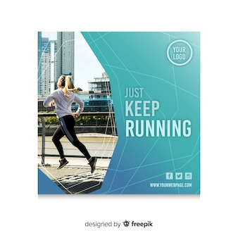 Running banner or square flyer template with photo of woman