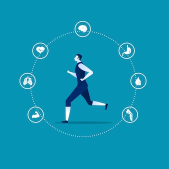 Running benefits template infographic with a man and icons l vector