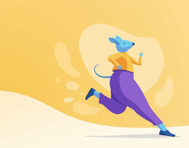 Running blue rat character in violet pants on a bright background
