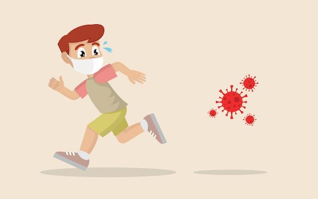 パニック状態で走っている少年はウイルスから逃げています。コロナウイルスの危機、covid-19。