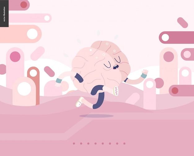 Запуск мозга на розовый пейзаж иллюстрированный вектор баннер