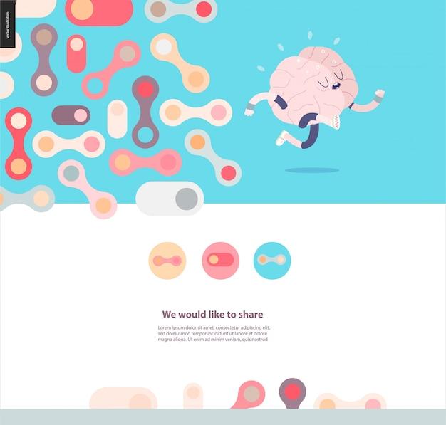 Running brain template design web mockup vector banner