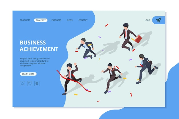Running business characters corporate office managers and leaders moving to the finish web page