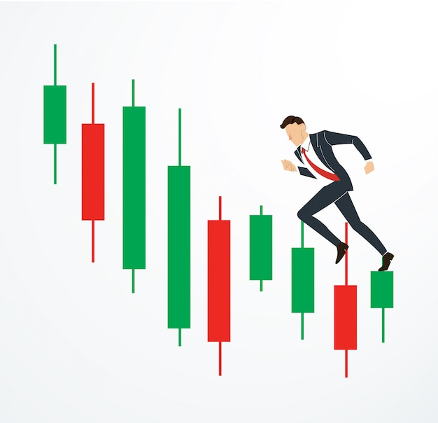 Running businessman on candlestick stock exchange