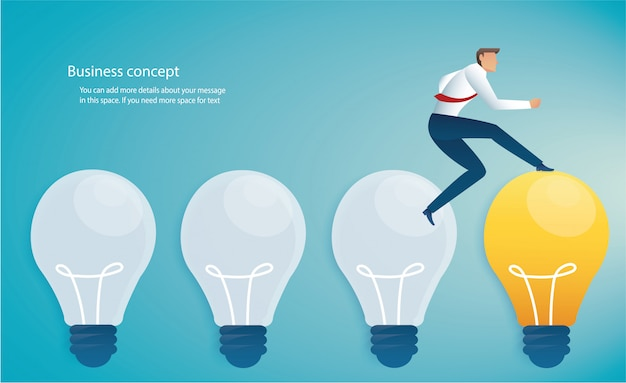 Running businessman on light bulb idea concept
