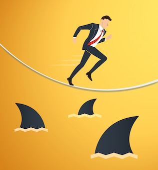 Running businessman on rope with sharks underneath