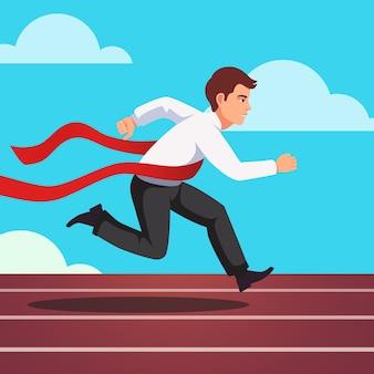 Running businessman winning a race
