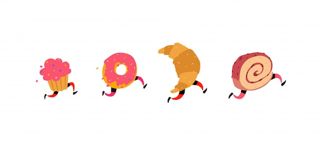 Running cake, donut, croissant and roll.