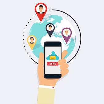 キャンペーンの実行、メール広告、ダイレクトデジタルマーケティング。メールマーケティング。ソーシャルメディアのアイコンのセットです。フラットなデザインスタイルのモダンなイラストのコンセプトです。
