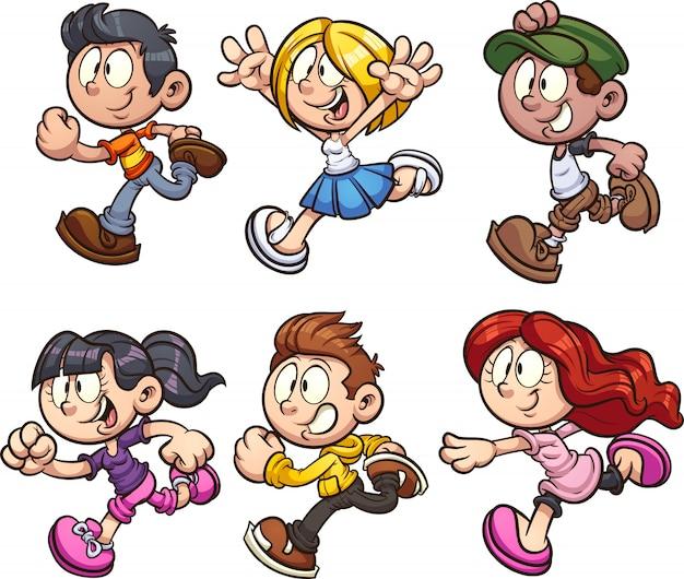 Running cartoon kids