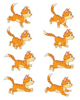 통통한 고양이 만화 게임 캐릭터 애니메이션 스프라이트 실행
