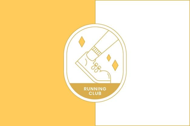 Running club fitness design element badge vector