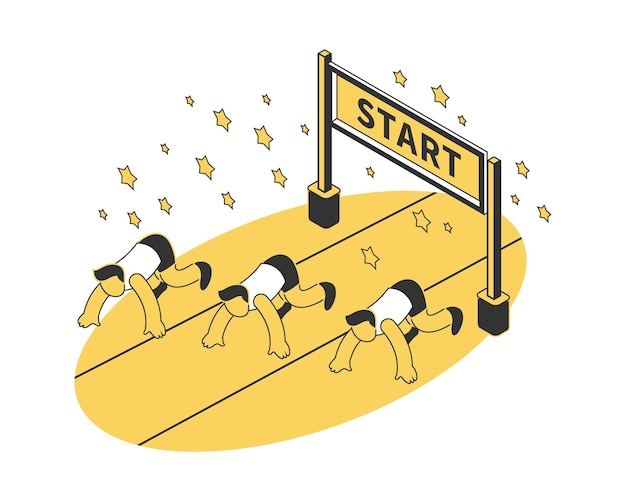 Running competition composition with three participants at start isometric