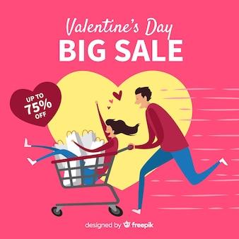 Running couple valentine sale background