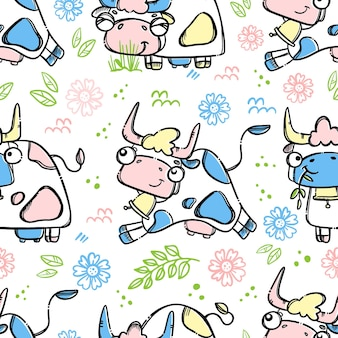 Running cow to farm to give milk and pet hand drawn cartoon seamless pattern