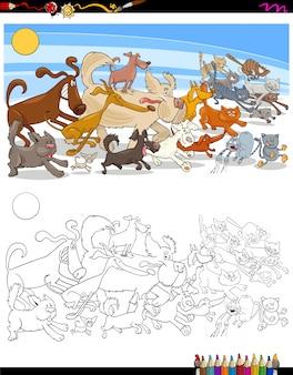 Бегущие собаки и кошки персонажи цветная книга