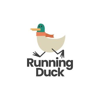 Плоский шаблон логотипа бегущей утки